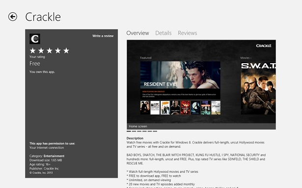 app crackle no windows 8 e windows rt