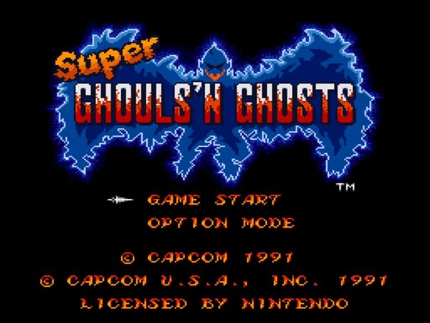 Super Ghouls'n Ghosts tela inicial